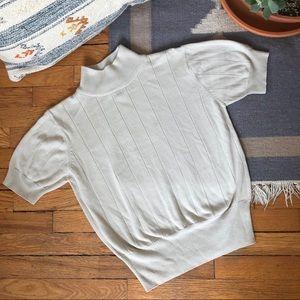 Vintage Mockneck Ribbed Knit Sweater